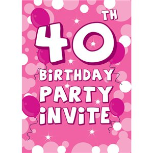 cartes d 39 invitation anniversaire 40 ans petit format. Black Bedroom Furniture Sets. Home Design Ideas
