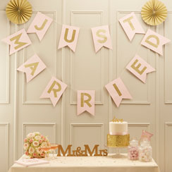 "Guirlande de Fanions ""Just Married"" Perfection Pastel - 3,5 m"
