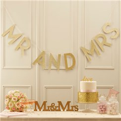 "Guirlande de Fanions ""Mr & Mrs"" Perfection Pastel - 2 m"