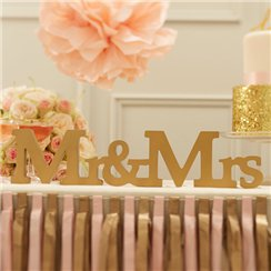 "Décoration en Bois ""Mr & Mrs"" Perfection Pastel"