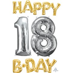 "Ballons Mylar Argentés et Dorés ""Happy 18th Birthday"" - 66 cm"