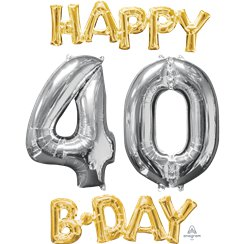 "Ballons Mylar Argentés et Dorés ""Happy 40th Birthday"" - 66 cm"