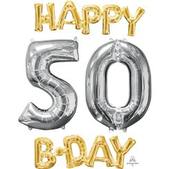 "Ballons Mylar Argentés et Dorés ""Happy 50th Birthday"" - 66 cm"