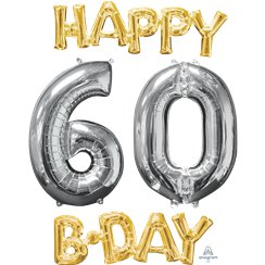 "Ballons Mylar Argentés et Dorés ""Happy 60th Birthday"" - 66 cm"