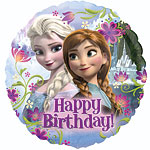 Ballon Happy Birthday La Reine des Neiges - Alu, 46 cm
