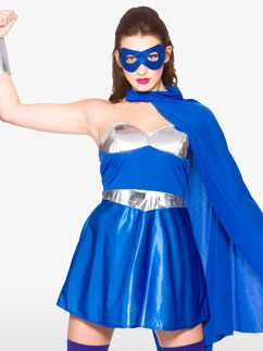 Super-Héroïne Bleue - Déguisement Adulte  Fancy Dress