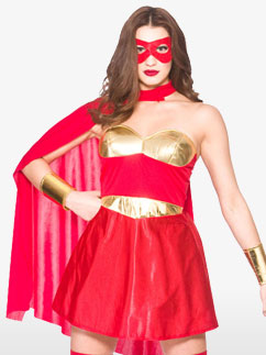 Super-Héroïne Rouge - Déguisement Adulte  Fancy Dress