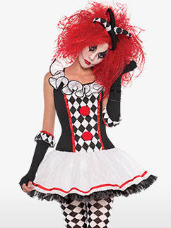 Jolie Clown Arlequine - Déguisement Adulte Fancy Dress