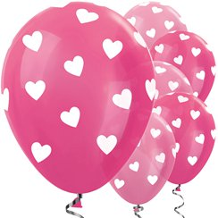 Ballons Latex Mix Rose Coeurs - 30 cm
