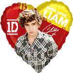 Ballon Cœur Liam One Direction - Alu, 46 cm