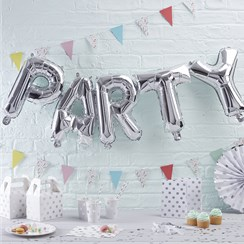 "Guirlande de Ballons Argentés ""PARTY"" Pick & Mix - 30,5 cm, Alu"