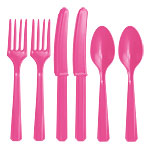 Assortiment de Couverts en Plastique Rose Vif