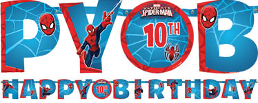 Banderole Happy Birthday Spider-Man avec Âge Personnalisable