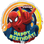 Ballon Rond Happy Birthday Spider-Man - Alu, 46 cm