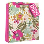 Grand Sac Cadeau Tropical Floral - 33 cm